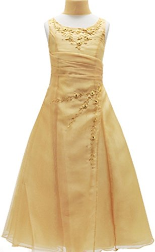 Embroidered Bodice A-line Satin - 7