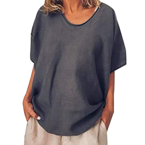 ◕‿◕Watere◕‿◕ Women's Solid Round Collar Cotton Linen Tops Short Sleeve Retro Blouse Casual Loose T Shirt Dark Gray ()