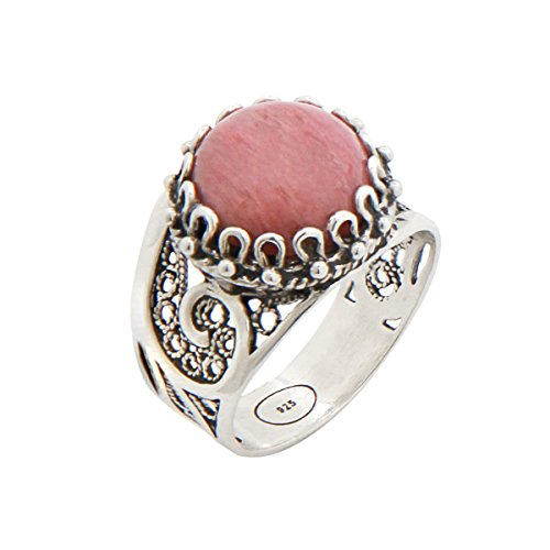 925 Sterling Silver Pink Rhodonite Round Filigree Paisley Ring (Size 6 - 10) (7) - Cabochon Sterling Silver Handmade Ring