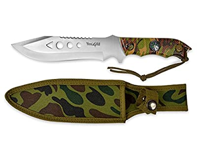 Yes4All MH-H150 Tactical Hunting Survival Fixed Blade Knife +Nylon Sheath w/ intergrated compass - ²H7I8Z