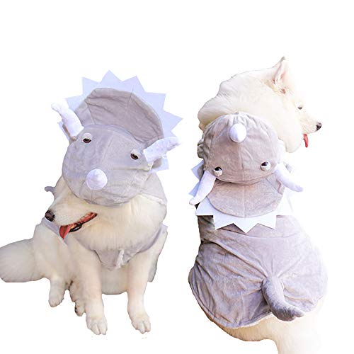 Corgis In Halloween Costumes (MUYAOPET Triceratops Large Dog Dinosaur Costume Winter Fleece Dog Coat Clothes in Cold Weather for Labrador Corgi (24(Bust 32.6inch),)