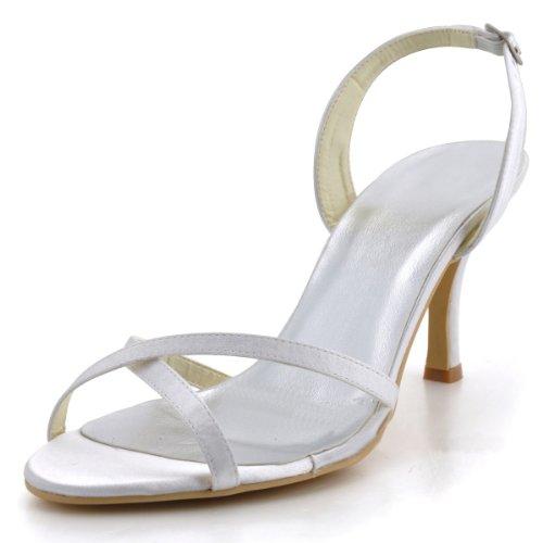 Minitoo GYMZ628 Womens Open Toe Kitten Heel White Satin Bridal Wedding Slingback Shoes 10 M US