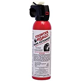 Counter Assault Bear Deterrent 78 Hottest formula allowed by EPA at 2% capsaicin Longest spray time and spray distance of 7.2 seconds; 30 ft. for 8.1 oz. And 9.2 seconds Glow-in-the-dark safety tie