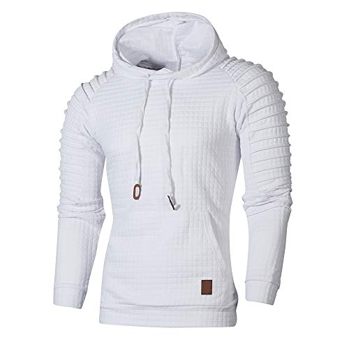 (WUAI Clearance Men's Outdoors Jacket Running Sports Plaid Pullover Regular Fit Hooded Sweatshirt Casual Outwear(White,US Size XS = Tag S))