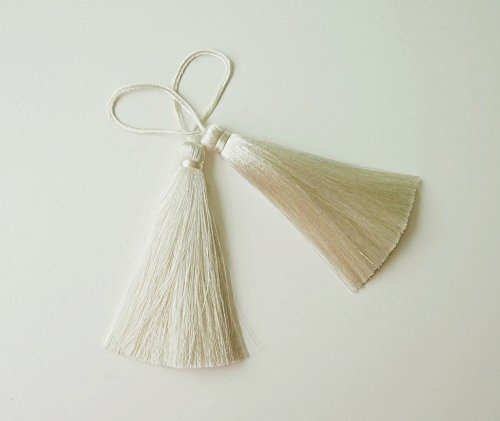 Ivory Long Tassel Silk Handmade Dangling Trim Jewelry Making Craft Fashion Earrings Sewing Embellishments 2 Pieces