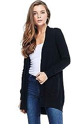 Alexander David A D Women S Basic Open Long Sleeved Soft Knit Cardigan Sweater Lightweight With Pockets Black Medium Large