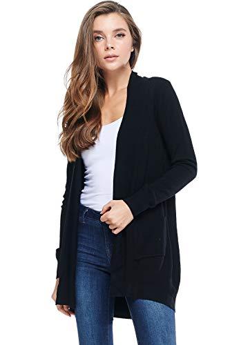 Alexander + David A+D Women's Basic Open Long Sleeved Soft Knit Cardigan Sweater Lightweight with Pockets (Black, Medium/Large) ()