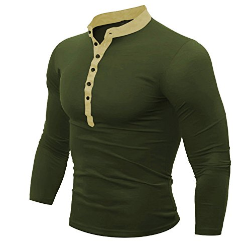 VEZAD Men Spring Autumn Cotton T Shirt Solid Color Long Sleeve Top Army -
