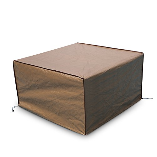 Abba Patio Square Fire Pit/Table Cover Outdoor Cover Waterproof, 43-Inch, Brown (Patio Table Fire)