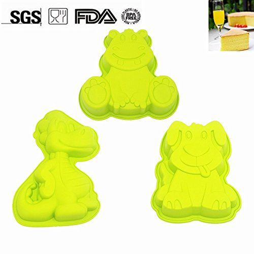 Novelty Birthday Cake Pan for Kids | Lovely Animal Baking Mold including Dog, Dinosaur, Cattle (Cow) | Nonstick Bakeware, BPA Free, Special Offer (3 Pets Set) (Animals Baking Pans)