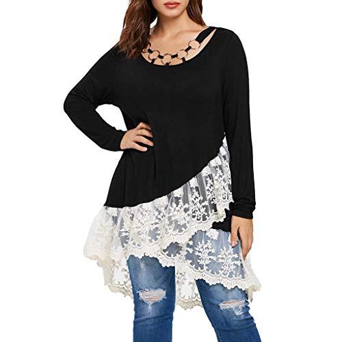 FEITONG Fashion Women Casual Lace Trim Layered T-Shirt O-Neck Tee Top Shirt Ring Blouse ()