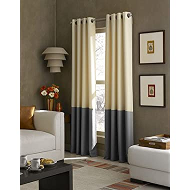 Curtainworks Kendall Color Block Grommet Curtain Panel, 63 Inch, Butter