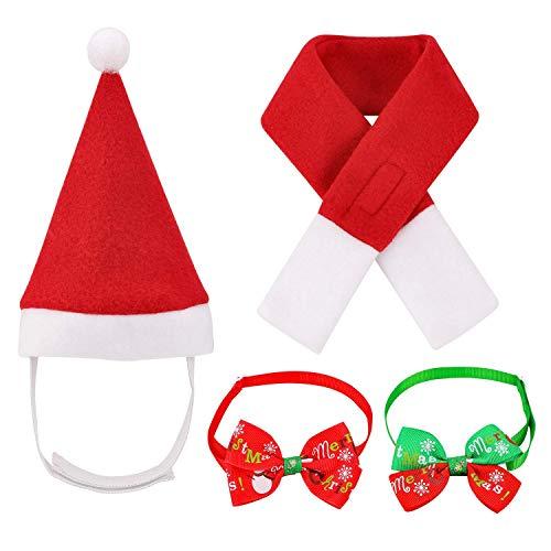 Oumers Pet Christmas Costumes, 4pcs Christmas Pet Hat