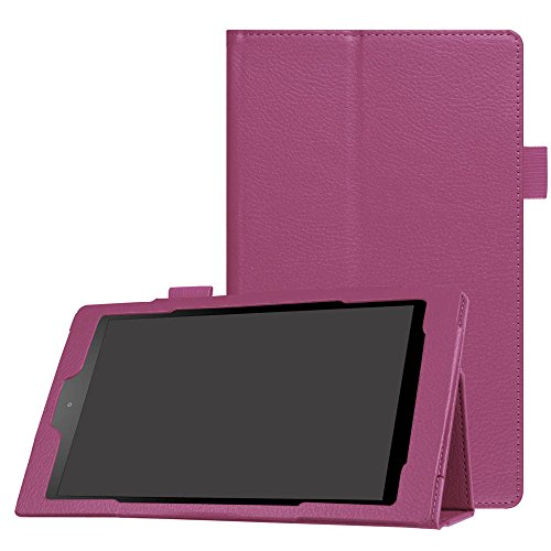 "Price comparison product image TOOPOOT Folio Case PU Leather Stand Cover For Amazon Fire HD 8""(6th Gen, 2016) (Purple)"