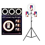 LIJUEZL 10'' Selfie Ring Light with Tripod Stand & Cell Phone Holder for Live Stream/Makeup,stand/210cm