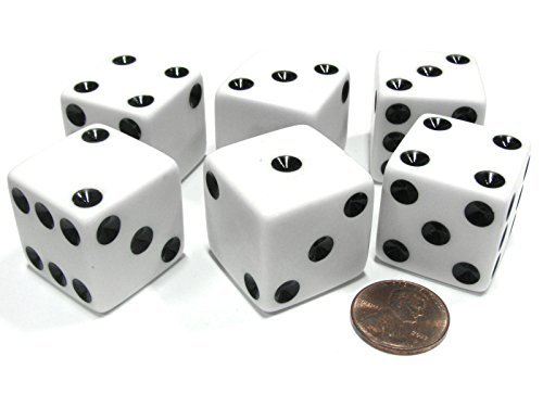 Set of 6 D6 25mm Large Opaque Jumbo Dice - White with Black Pip by Koplow Games ()