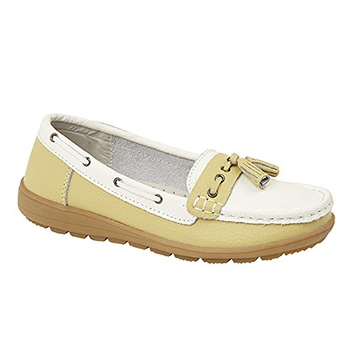 Boulevard Womens/Ladies Saddle/Tassle Boat Shoes White/Pistachio UEkAavv
