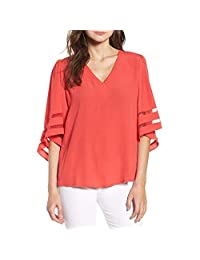 Women Shirts Loose Flare Sleeve Splice Tops Casual Autumn Solid Tee Blouse Pullover