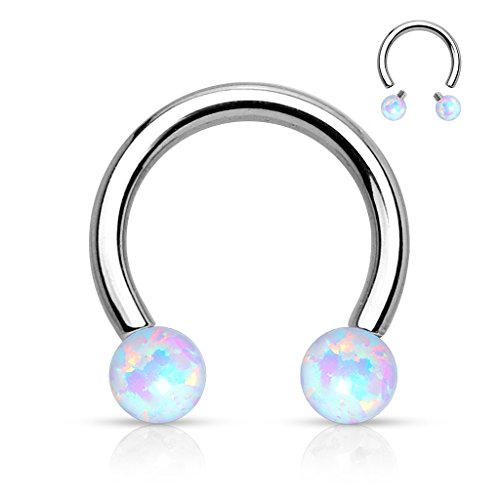 Amelia Fashion14 Gauge Opal Circular Barbell / Horseshoe Nose Ring 316L Surgical Stainelss Steel (White Opal) ()