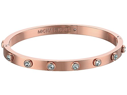 Michael Kors Knife Edge Rose Gold-Tone and Crystal Hinged Bangle Bracelet