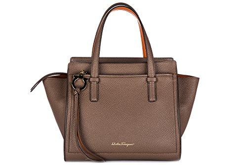 Salvatore Ferragamo women's leather handbag shopping bag purse amy brown