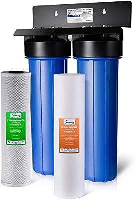iSpring WGB22B Sistema de filtración de agua para toda la casa de 2 etapas Big Blue con sedimentos finos y filtros de bloque de carbono, elimina el 99% de cloro: Amazon.es: Bricolaje