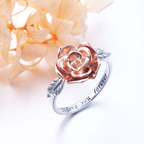 DAOCHONG S925 Sterling Silver Rose Flower Love Jewelry Bands Ring for Women Size 7 by DAOCHONG (Image #2)