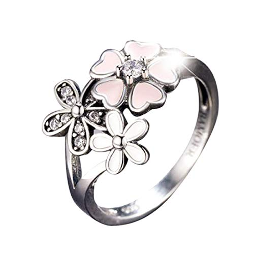Ring, Balakie Lady Floral Transparent Diamond Flower Vine Leaf Rings Wedding Gift (Pink, 6)