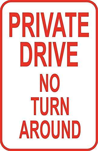 """Price comparison product image Yilooom Private Drive No Turn Around Street Sign 8"""" X 12"""" Aluminum Metal Driveway"""