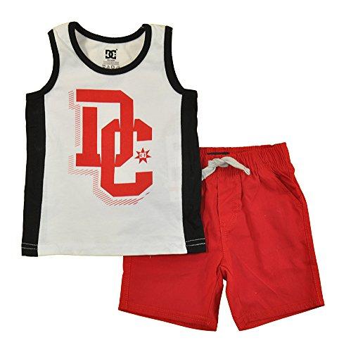 (DC Apparel Little Boys 2 Piece Jersey Tank Top with Poplin Plaid Woven Short Set, White, 4)