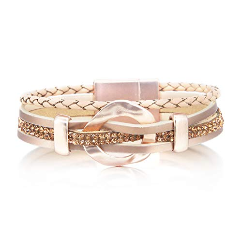 Rose Gold Rhinestone Bracelet Leather Wrap Boho Bracelet Cuff Bracelet Handmade Bangle Braided Magnetic Clasp Bracelet Multi Strand Bracelet for Women Girl