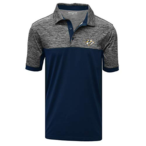 Levelwear NHL Nashville Predators Mens Chaos Insignia 2-Color Polo, Heather Charcoal/Navy, X-Large