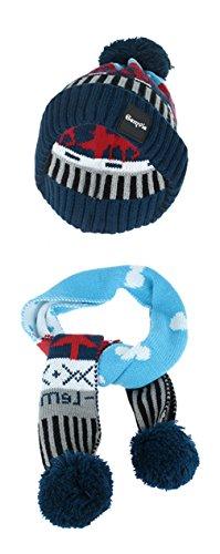 Gemvie Christmas Reindeer Kids Boys Girls Cuff Knit Pom Hat And Scarf Set Blue