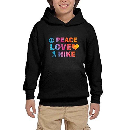 Hapli Youth Black Hoodie Peace Love Hike Hoody Pullover Sweatshirt Pocket Pullover For Girls Boys XL by Hapli