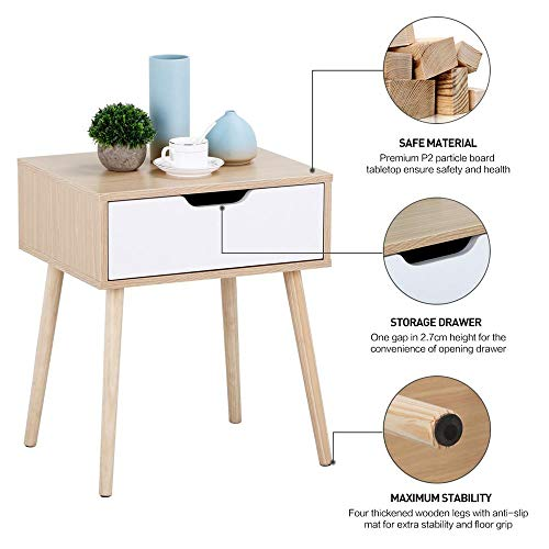8bf9e663a8d Yaheetech End Side Table Nightstand with Storage Drawer Solid Wood Legs  Living Room Bedroom Furniture 22.6