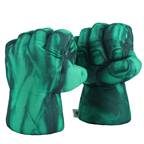 Toyart Smash Hands for Kids of All Ages|Plush Stuffed Gloves Toys, Incredible Fists Work for Green Mask, Costume for Child, Boys|Green Addition to St Patricks Day Shirt|1 Pair -