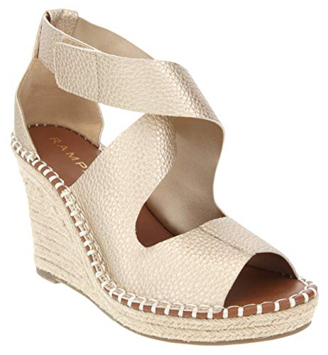 Rampage Women's Holmes Espadrille Wedge Sandals with Criss Cross Strap and Adjustable Closure 8.5 Gold Pebbled