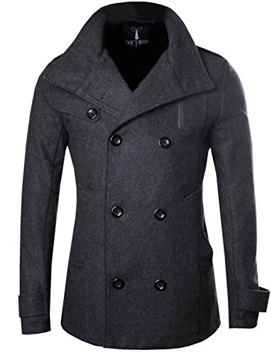 Slim Wool Jacket Coat (Tom's Ware Mens Stylish Fashion Classic Wool Double Breasted Pea Coat TWCC08-CHARCOAL-US M)