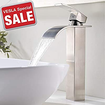 VESLA HOME Single Handle Tall Waterfall Brushed Nickel Vessel Sink Bathroom Faucet, Lavatory Vanity Sink Faucet With Large Rectangular Spout