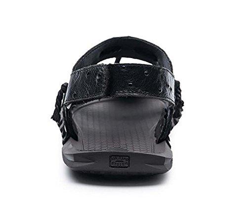 Ouvert 45 Velcro Diapositives Cordon Cuir BLACK xie Bout Sandales Slip à Taille Respirant Chaussures Anti Véritable 38 D'été EU42 Hommes Plage wpxUxqgv