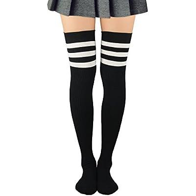 Zando Women Extro Long Thigh High Socks Fashion Stripe Tube Stockings Casual Over The Knee Socks Cotton Above Knee Sock for sale