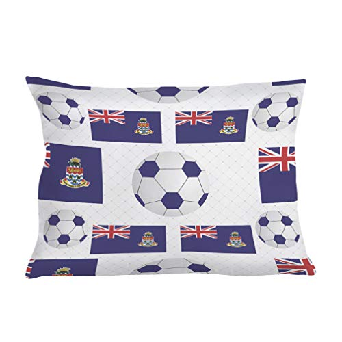 (Style In Print Personalized Pillow Case Cayman Islands Civil Flag Soccer Polyester Pillow Cover 20INx28IN Design Only Set of 2)