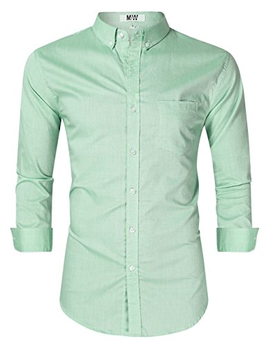 - MrWonder Men's Casual Slim Fit Button Down Dress Shirt Long Sleeve Solid Oxford Shirt (2XL, Green)