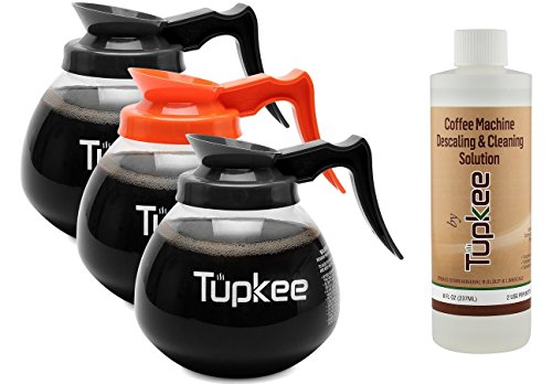 Commercial Coffee Pot Replacement - Restaurant Glass Coffee Pots – 12 Cup, 64 oz, Set of 3-2 Black Regular Handle and 1 Orange Decaf + INCLUDES + Tupkee Coffee Machine Descaling & Cleaning Solution by Tupkee (Image #7)'
