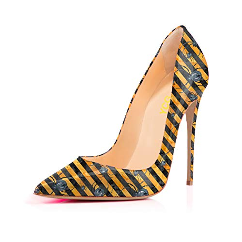 Women's High Heels Party Wedding Pumps Yellow Stripe Spider Tattoo Printing Slip on Shoes US 12