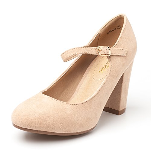 DREAM PAIRS Women's ROSALLI Nude Suede High Chunky Heel Pump Shoes - 9 B(M) ()