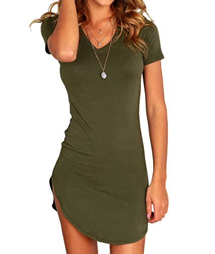 And Dresses Tights (Karlywindow Women's Bodycon Dress Sexy Tight Irregular Hem Short Sleeve Mini T Shirt Dress)