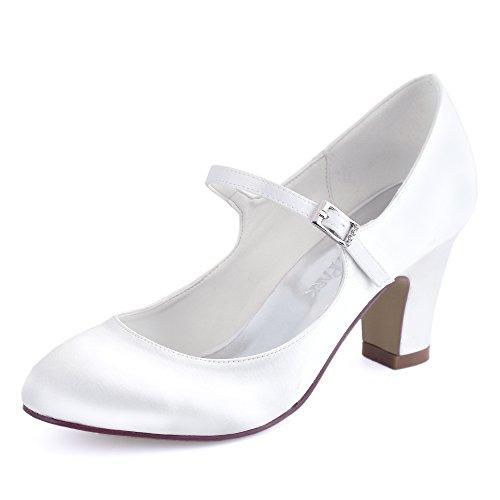 White Heel Buckle ElegantPark Satin Bridal Block Closed Shoes Toe Women Pumps Wedding BwZxZPqXT