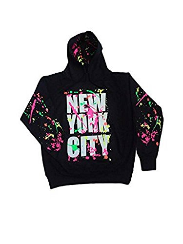New York City Splatter Neon Paint Hoodie Sweatshirt (Medium, Black) -
