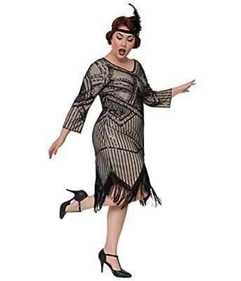 Unique Vintage Plus Size 1920s Champagne & Black Beaded Sleeved Noemie Fringe Flapper Dress